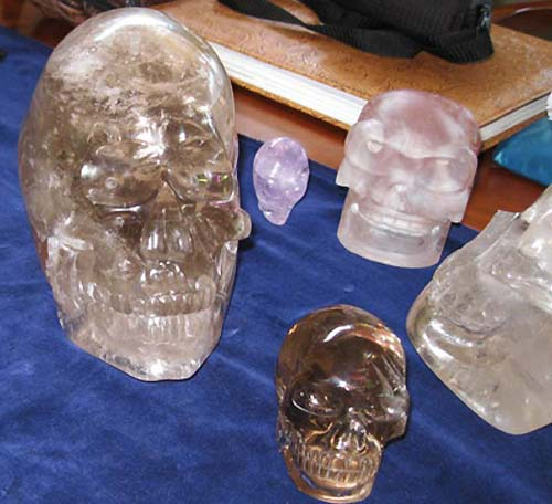 "The Crystal Skull ""ET"" is the large skulll to your left, with some of our personal skulls. This photo was taken in 2011 when we visit Ms. van Dieten son in British Columbia, who had her personal skulls at the time for safe keeping - notice the different shape to ""ET"" vs. a more human type skull."
