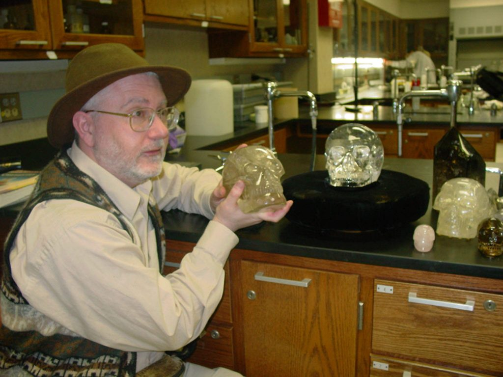Here we see Joshua holding his personal crystal skull Portal de Luz with the Mitchell-Hedges Crystal Skull in the background - this was after a research session done for the Syfy Channel documentary in 2008 at a high school in Valparaiso, Indiana where the guardian of the MH Skull, Bill Homman lives.