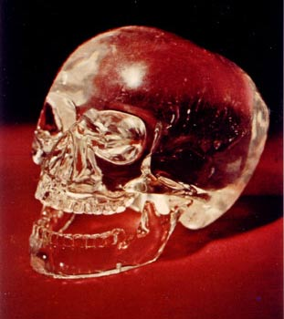 The Mitchell-Hedges Crystal Skull - photo comissioned by Anna Mitchell-Hedges. this photo shows this skull is two pieces with the lower jaw separate, an almost exact duplicate of a human bone skull. Was this Crystal Skull made in Atlantis? Why does everyone wish to meet it? Permission for use of this photo through Bill Homann, the guardian.